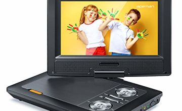 APEMAN 2020 Upgraded 11.5'' Portable DVD Player with Built-in Rechargeable Battery with 9.5'' Swivel Screen SD Card and USB Supported Direct Play in Formats AVI/RMVB/ MP3/JPEG (Black)