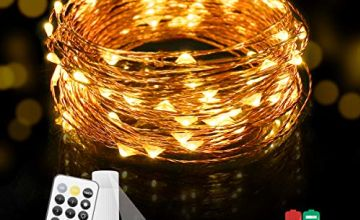 KINGSO LED Fairy Lights Rechargeable Battery 10M 100 LEDs String Lights,11 Modes (with 3 DIY) IP65 Remote Control Copper Wire Fairy Lights Warm White Decorative Fairy Light for Outdoor