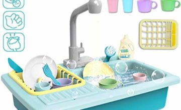 deAO Children's Pretend Kitchen Sink Play Set with Simulated Water Tap Feature and Kitchen Accessories Included