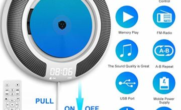 CD Player Portable with Bluetooth Built-in HiFi Speakers and OLED Display, Desk/ Wall Mountable CD Music Player Home Audio Boombox with Remote Control FM Radio, MP3 Headphone Jack AUX Input