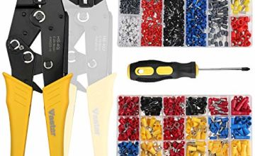 Vastar 2 in 1 Insulated Ratcheting Wire Terminals Crimper (AWG23-10,AWG23-7)- Crimper Plier Set with 2 Types of Insulated Bullet Butt Spade Fork Ring Crimp Terminals Connectors, with Screwdriver