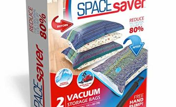 Spacesaver Premium Vacuum Storage Bags. 80% More Storage! Hand-Pump for Travel! Double-Zip Seal and Triple Seal Turbo-Valve for Max Space Saving! (Jumbo 2 pack)
