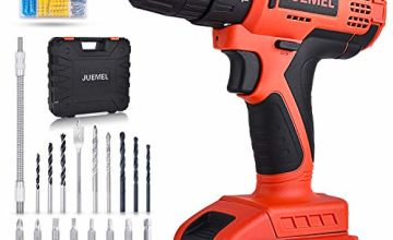 20V Cordless Drill Driver, JUEMEL 100 PCS Accessories Power Drill, Electric Screwdriver Set (1 Battery 2000mAh / 1H Fast Charger/Max Torque 36Nm / 2 Variable Speed / 3/8 inch Chuck) for DIY Project