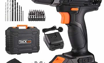 TACKLIFE 18V Cordless Drill Driver, 3/8' Metal Chuck,2 Speeds Compact Drill Set with 43pcs Accessories,2000mAh Lithium Battery Pack and 1Hour Fast Charger,PCD05B