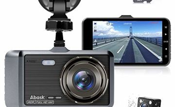 Dash Cam, Abask Dash Cams with SD Card for Cars Front and Rear with Night Vision 1080P Full HD, 4 Inches Dash Camera with WDR 170° Wide Angle, Loop Recording, G-sensor, Parking Mode, Motion Detection
