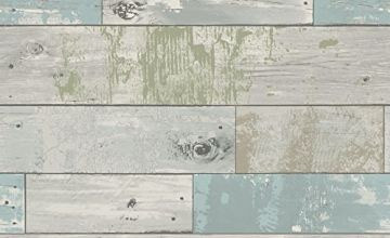 NuWallpaper NU3126 Beachwood Peel and Stick Wallpaper, Blue