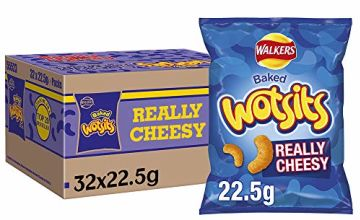 Walkers Crisps Wotsits Really Cheesy Snacks Box, 22.5 g, Case of 32