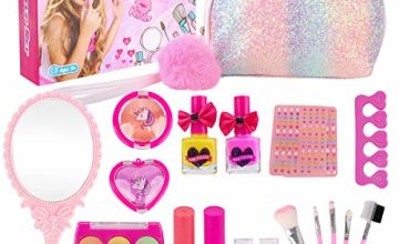 Kids Makeup Set for Girls - 19PCS Real Washable Cosmetics Kit Children Play Make Up with Glitter Cosmetic Bag, Nail Polish, Birthday Gift