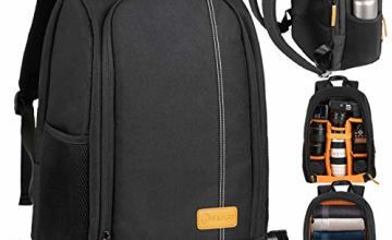 TARION Camera Backpack, Photography Backpack with Large Capacity, Padded Insert, 15'' Laptop Compartment, Professional Waterproof Camera Bag for DSLR SLR Canon Nikon Fuji Sony Cameras