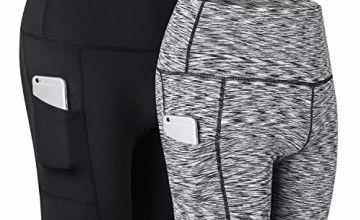 R RUNVEL Womens Running Shorts with Pockets Sports Gym High Waist shorts
