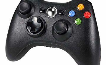 Diswoe Wireless Controller for Xbox 360, xbox 360 Game Controller Gamepad, Buttons Improved Ergonomic Design Joystick for Microsoft Xbox & Slim 360 PC Windows 7,8,10 (Black)