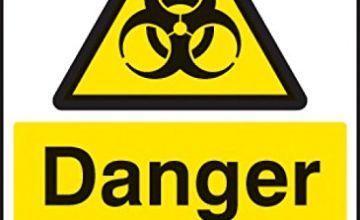 Caledonia Signs 24536E Danger Biohazard Sign, Self Adhesive Vinyl, 200 mm x 150 mm
