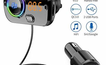 Bluetooth FM Transmitter 5.0 Handsfree Car Kit with 2 USB Ports Quick Charge QC3.0+ 5V/ 2.4A Car Radio Adapter with Microphone CVC Noise Reduction, 7 Color Lights, Support Siri MP3 Player TF Card, AUX
