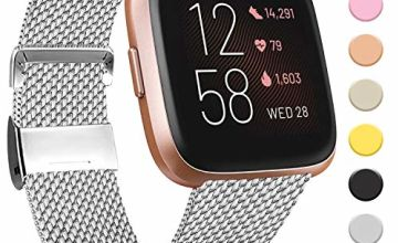 Amzpas Compatible with Fitbit Versa Strap/Fitbit Versa 2 Strap, Metal Stainless Steel Bands Quick Release Replacement Wriststrap with Unique Magnet Lock for Fitbit Versa (02 Rose Pink, S)