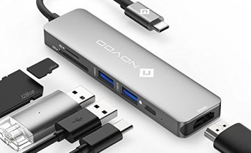 NOVOO USB C Hub, 6 in 1 Aluminum USB-C Adapter with HDMI 4K Adapter, USB-C Power Delivery, SD and Micro SD Card Reader and 2 USB 3.1 Ports Compatible for USB-C Devices