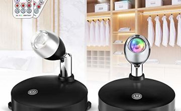 2PACK SOLMORE Black case RGB Remote Control Cabinet Light Spotlight