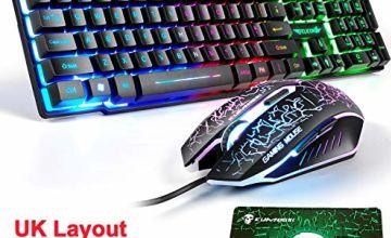 LexonElec UK Layout Gaming Keyboard and Mouse Sets Rainbow Backlit Ergonomic Usb Gaming Keyboard + 2400DPI 6 Buttons Optical Rainbow LED Usb Gaming Mouse + FREE Gaming Mouse Pads