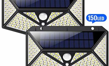 Solar Lights Outdoor 150 LED, HETP【6-Side Illumination】Solar Security Lights Outdoor Motion Sensor【Super Brightness 1500LM】Solar Powered Lights Wireless Solar Lamps Waterproof - 3 Different Light