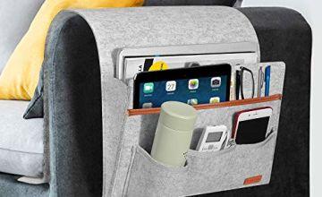 SIMBOOM Bedside Pocket Storage Bag, Felt Bedside Caddy Magazine Phone Tablet iPad Glass Remote Holder for Bed Rails, Dorms, Sofa - Blue