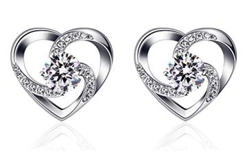 "B.Catcher Women Silver Eearrings 925 Sterling Silver ""Crazy Love"" Heart Studs Earring Sets"
