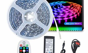 DreamColour LED Strip Lights 15M SELIAN 5050 LED Lighting Strips RGB Flexible Rope Light with 24V Power Supply Non-Waterproof LED Strip Light for Home Indoor Decoration