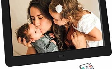 Tenswall 10 Inch Digital Photo Frame Upgraded 1280x800 High Resolution Full IPS Display Photo/Music/Video Player Calendar Alarm Auto On/Off Timer, Support USB and SD Card, Remote Control