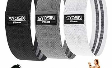 SYOSIN Resistance Bands, Non-Slip Exercise Loop Bands for Hips and Glutes 3 Resistance Levels for Butt, Legs and Whole Body Work Out, Durable Strong Fitness Bands for Pilates, Yoga and Body Building
