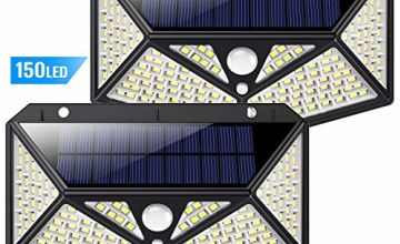 Solar Lights Outdoor 150 LED, Kilponene【6-Side Illumination 1500LM Super Bright】Solar Security Lights Motion Sensor Solar Powered Lights Wall Lights Waterproof with 3 Modes for Outside (2 Pack)