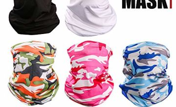 TEMINICE 5 Pieces Unisex Multifunctional Headwear Bandana Face Cover Mask,Headband Scarf Neck Gaiter,UV/Dust Protection Reusable Washable Stretchy Breathable Balaclava for Outdoor Cycling Motorcycle