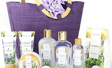 Spa Luxetique Lavender Spa Bath Gift Set, Premium 10pc Bath Gift Sets in Handmade Tote Bag Collection, Bubble Bath, Body Lotion, Bath Bombs, Bath Salt, Hand Cream or More. Pamper Gift Set for Women.