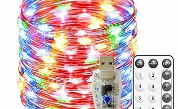 Fairy Lights USB Operated Waterproof Copper Wire String Lights 66ft/20M 200 LED 8 Modes Remote and 2/4/6/8Hour Timer for Xmas, Party, Bedroom, Wedding, Indoor/Outdoor