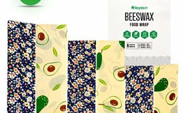 Beeswax Wrap Set of 6 by HEYECO - Organic Cotton Washable Reusable Bees Wax Food Wraps | Bowl Covers | Eco-Friendly | Zero Waste | Sustainable Plastic Free Storage |