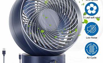RenFox Desk Fan, Noiseless USB Cooling Fan, Adjustable Speed and Angle, 5 Blades