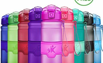 KollyKolla Sports Water Bottle - BPA Free & Eco-Friendly Plastic, 380ml/500ml/700ml/1L, Flip Lid, Reusable Drinks Bottle, Leak-proof Workout Bottle, for Kids, Gym, Yoga, Outdoor