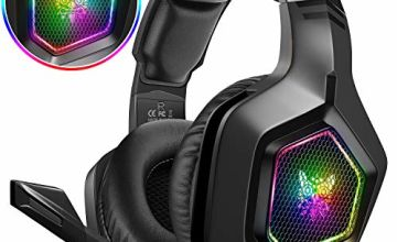 DIZA100 Gaming headset for PS4, Surround Stereo 3.5mm Gaming Headphones with RGB Rainbow Light & Adjustable Mic for PS4 Xbox One Nintendo Switch PC Laptop Mac