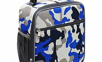 Insulated Lunch Bag Camo Cooler Bag Portable Carrying Lunch Box Bag for Boys Girls Women Men to School Office Outdoor