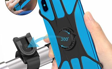 "SYOSIN Universal Bike Phone Holder, 360° Rotatable Adjustable Detachable Bicycle Motorcycle Phone Mount Compatible for 4"" to 6.5"" Smartphones"