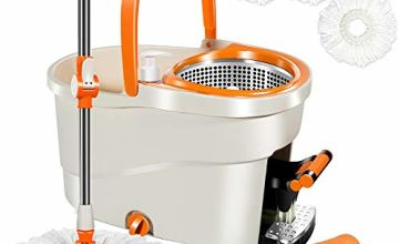 Spin Mop with Foot Pedal Bucket 6L Mops and Bucket Set with 4 PCS Microfiber Mop Refills 5 Cloths Masthome