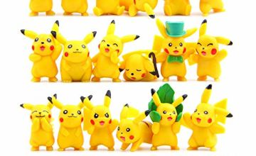 OMZGXGOD - 18 pcs Pokemon Pikachu Figure Set + 8 Pokemon Bracelets Kids & Adult Party Celebration