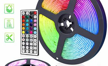 5050 LED Strip Lights 32.8ft RGB IP65 Waterproof Self Adhesive 3M Tape - FUJIWAY Professional Changing Multi-Color LED Light Strips with Remote - Decoration Lighting for Room, Bedroom, Home