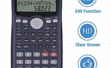 Calculator, Scientific Calculators, Calculator Desktop Calculator with LCD Double Line Display and Slide-on Protective Hard Cover for GCSE and A-level Examination Included Battery(Black)