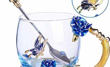 TKLake Lead-Free Enamel Flower Glass Mug/Coffe Mug/Tea Cup with Steel Spoon,Great Gifts for Women Wife Mum Teacher Girlfriend Friends Birthday Mothers Valentines Wedding Day
