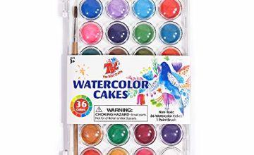 TBC The Best Crafts 36 Colours Watercolour Paint Set, Portable Travel Watercolour Pan Set with Paint Brush, Student Quality Watercolour Cake for Kids
