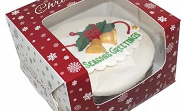 Premium Windowed Christmas SNOWFLAKE Cake Boxes 8 x 8 x 5, Pack of 10