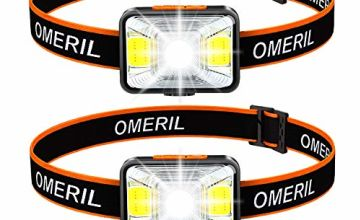 OMERIL LED Head Torch[Set of 2], USB Rechargeable Headlamp with Super Bright 200 Lumens,5 Lighting Modes,White&Red Light,IPX5 Waterproof Headlight for Kids Adults,Running,Dog Walking,Cycling,Camping
