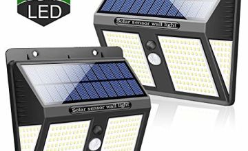 SYOSIN Solar Lights Outdoor, Super Bright 250 LED Motion Sensor Security Lights 270° Wide Angle Waterproof Wireless Solar Powered Lamp Night Lights for Garden,Outdoor/Indoor Wall Light[2 Pack]