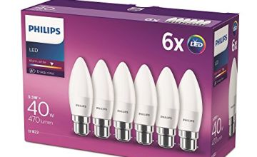 Philips LED B22 Candle Light Bulbs, 5.5 W (40 W) - Warm White, Pack of 6