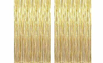 2 Pack Big Metallic Tinsel Curtains, Foil Fringe Shimmer Cur