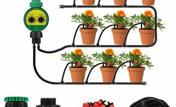 Irrigation System with Timer,king do way 25m DIY Micro Drip Irrigation Kit Adjustable Nozzle Automatic Watering Kits,Garden Micro Irrigation Drip System,Plant Watering System for Patio,Greenhouse,Lawn