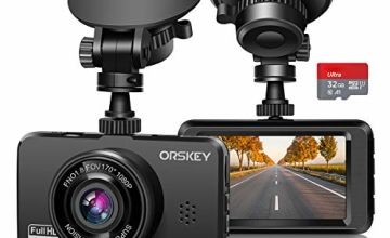 ORSKEY Dash Cam for Cars Front and Rear and SD Card Included 1080P Full HD In Car Camera Dual Lens Dashcam for Cars 170 Wide Angle Sony Sensor with Loop Recording and G-sensor